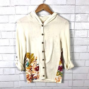 Anthropologie, Moth Floral Hooded Cardigan Sweater